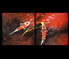 Koi Fish Wall Art Contemporary Art Modern Wall Art Décor Print On Canvas
