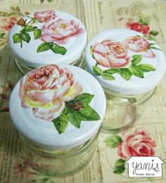 gives so many ideas! Decoupage Jars, Decoupage Printables, Decoupage Vintage, Decoupage Paper, Decoupage Ideas, Diy Arts And Crafts, Diy Crafts, Recycled Decor, Colorful Decor