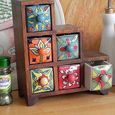 Spice Storage Chest - Stepped Design - 6 Drawer