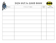 This Super Hero themed sign-out sheet will be sure to motivate your students to sign-out books from your classroom library.