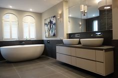 elegant charcoal and blonde contemporary master en-suite hunter and Belle Interiors