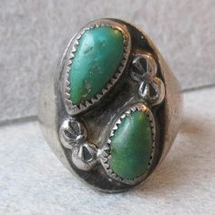 RARE Vintage Native American Zuni Signed Barney Iule Sterling Silver & Green Turquoise Ring, Size 6
