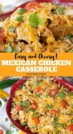 Mexican Chicken Casserole combines all best parts of taco night combines them into one easy, flavorful dish with chicken, rice, cheese, and tortilla chips. ad mexicancasserole easy chicken taco mexican casserole via 342062534195653872 Carnitas, Barbacoa, Mexican Chicken And Rice, Chicken Rice, Tex Mex Chicken, Cheesy Chicken, Carne Asada, Brisket, Enchiladas