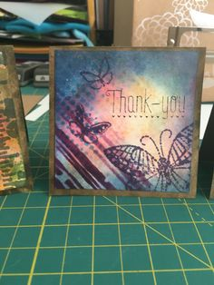One of five mini distressed thank you cards made with Tim Holtz distress inks.