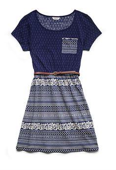 Floral Striped Skater Dress (Kids) | FOREVER21 girls - 2000104420 Size 13/14