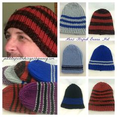 #ButterflysPin Hand knit Unisex Beanie hats Striped in a variety of color combos