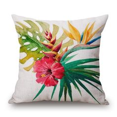 Tropical Hibiscus Bird of Paradise Cushion Cover