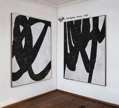 Large Set of 2 Abstract Art Minimalist Painting Canvas Art image 1