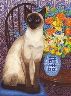 / siamese if you please / creatures great and small / print by avril haynes /