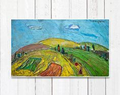 Landscape summer ORIGINAL PAINTING oil painting  by ATTOpainting, $175.00