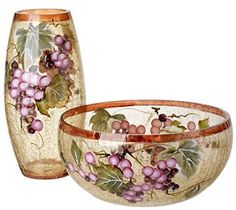 5th Avenue Collection Murano Glass Candy/Potpourri Bowl and Vase,Set Of 2 - Grape Wine Décor    I love the look of hand blown glass flower vases which is why I have enjoyed learning to decorate my home with beautiful murano glass vases.  You will find so many unique, vivid and abstract colors. These colors will tie in with your current home decor theme.  I would place a murano glass vase in my kitchen, livingroom, bedroom or bathroom.  I have a mantle in my great room that has several.  You…