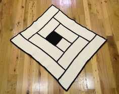 Black and Cream Graphic Square Crochet by LincolnStreetDesign