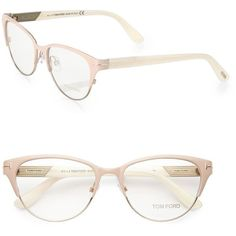 Tom Ford Eyewear Rounded 53MM Optical Glasses (2683525 PYG) ❤ liked on Polyvore featuring accessories, eyewear, eyeglasses, glasses, apparel & accessories, pink, lightweight eyeglasses, clear glasses, tom ford and clear eyeglasses