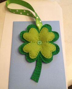 Felt four leaf clover, good luck charm