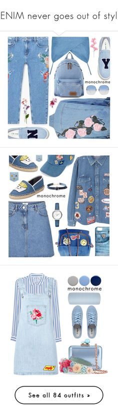 """""""DENIM never goes out of style!"""" by shoaleh-nia ❤ liked on Polyvore featuring MANGO, Joshua's, Eastpak, Linda Farrow, Circus by Sam Edelman, UNIONBAY, Tommy Hilfiger, Michael Kors, GUESS and iHeart"""