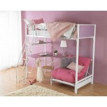 Hyder Cosmic Blanc Loft Bed Is A Modern White Painted Bunk With Underbed Futon Chair And Tempered Gl Desk