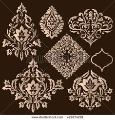 Vector set of damask ornamental elements. Elegant floral abstract elements for design. Perfect for invitations, cards etc. Carving Designs, Ornaments Design, Embroidery Fashion, Bookbinding, Floral Motif, Background Patterns, Web Design, Vector Art, Embroidery Patterns
