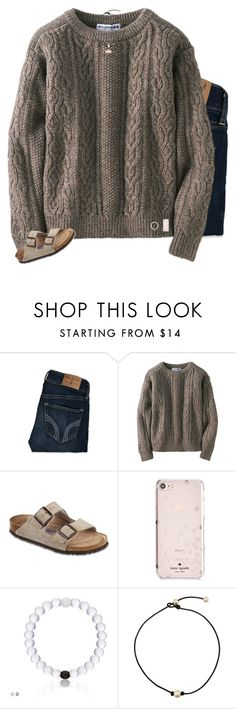 """""""t r a v e l"""" by preppin ❤ liked on Polyvore featuring Hollister Co., Uniqlo, Birkenstock, Kate Spade and Kendra Scott"""