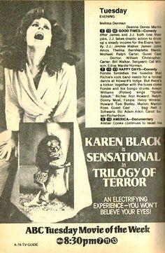 Best made-for-TV movie ever? Trilogy of Terror, 1975. Horror   @uberbabygraphic  via @thinkstudionyc Abc Movies, Scary Movies, Movie Tv, Vintage Horror, Vintage Tv, Karen Black, Movie Of The Week, Horror Posters, Film Posters
