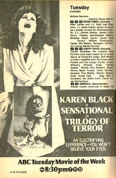 Best made-for-TV movie ever? Trilogy of Terror, 1975. Horror   @uberbabygraphic  via @thinkstudionyc