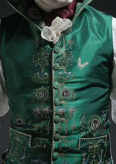 Jonathon wears this gorgeous emerald green silk waistcoat when attending the opening night of Sheridan's School for Scandal with Antonia. AUTUMN DUCHESS