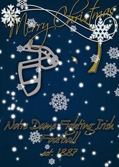 Notre Dame Fighting Irish Greeting Card featuring the photograph Notre Dame Fighting Irish Christmas Card by Joe Hamilton