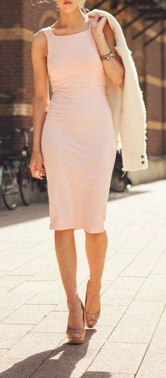 Blush midi dress.