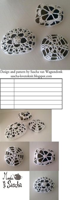 A pattern for pebbles covered in crochet. Yarn Projects, Crochet Projects, Free Crochet, Knit Crochet, Crochet Stone, Mixed Media Jewelry, Crochet Pillow, Crochet Basics, Rock Painting
