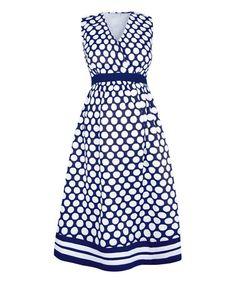 Loving this Navy & White Polka Dot Maternity Dress on #zulily! #zulilyfinds