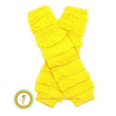 Yellow Gathered Cotton Leg Warmers Baby Legwarmers by soprettybaby