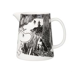 "Moomin Adventure Pitcher The great porcelain maker, Arabia, has once again added another piece to its already extravagant Moomin collection with this cute glossy-finished pitcher. A part of the new ""Moomin Adventure"" series, t. Marimekko, Moomin Mugs, Water Carafe, Tove Jansson, Black And White Background, Nordic Home, Scandinavian Interior Design, Finland, Original Artwork"