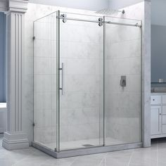 """DreamLine SHEN-60366012-08 Enigma 36"""" by 60 1/2"""" Sliding Shower Enclosure, Clear 1/2"""" Glass, Stainless Steel Finish"""