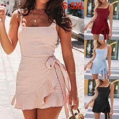 Hot Summer Women Fashion Solid Short Dress Ruffled Sleeveless Dress Plus Size 4 Colors Cute Sexy Mini Dress Off Shoulder Low Collar Bandage Skirts Dress Plus Size, Bandage Skirt, Mini Vestidos, Women's Summer Fashion, Gender Female, Ruffle Dress, Hot, Sexy, Casual