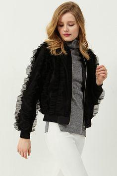 Christine Ruffle Jacket Discover the latest fashion trends online at storets.com  #rufflejacket #blackjacket #rufflearm