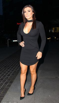Black beauty: Kym Marsh, 39, led the celebrations as the cast of the long-running soap arrived at Salford's Lowry Theatre for former Corrie star Alison King's leaving party