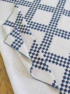 Densely Quilted Antique c1880s Indigo Blue White Quilt | Vintageblessings