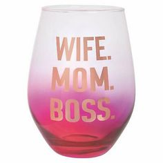 Stemless Wine Glass in Pink and Gold 30 oz. Pink Wine Glasses, Stemless Wine Glasses, Wife Mom Boss, Mother Gifts, Mothers, Best Mom, Glass Ornaments, Pink And Gold, Food Service