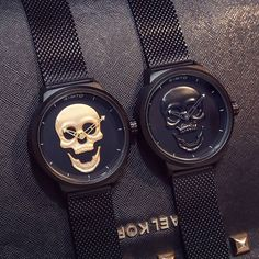 Love these watches! My man wants the black one🖤 Skull Jewelry, Jewellery, Skull Rings, Silver Jewelry, Skull Fashion, Punk Fashion, Lolita Fashion, Vintage Watches, Watch Bands