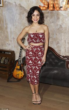 Retro vixen: Vanessa Hudgens stepped out in a matching ensemble in New York on Friday nigh...
