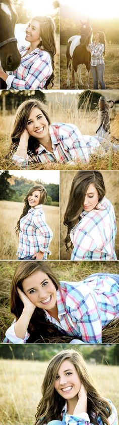 I like the country look. Like with the plaid shirt and blue jeans. Some boots would just be awesome. I think I'd want to wear a white dress too like a white sundress. Senior Year Pictures, Country Senior Pictures, Senior Photos Girls, Senior Girls, Graduation Pictures, Photography Senior Pictures, Horse Photography, Portrait Photography, Photography Ideas