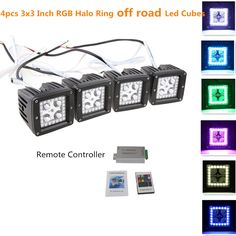 2W 3x3 Inch Remote Controller LED Pods/Cubes RGB Halo Ring Spotlight SUV Off Road Headlight Pods Driving Fog Light With Mounting Bracket(Pack of 4)