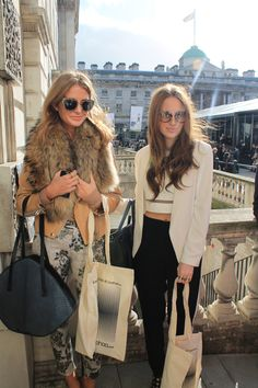 Millie and Rosie from Made In Chelsea with our LFW boohoo.com bags! #streetstyle #LFW