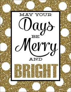 Merry and Bright Glittery Free Prints - Design Dazzle