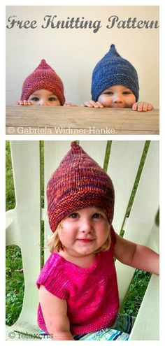 8 Pixie Hat Free Knitting Pattern This photo is a really inspirational and extremely good idea crochet pillow pattern living rooms beds 34 Ideas barb. Baby Knitting Patterns, Baby Hats Knitting, Knitting For Kids, Easy Knitting, Knitting For Beginners, Baby Patterns, Knitting Projects, Knitted Hats, Pixie
