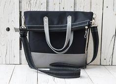Messenger tote bag leather canvas foldover crossbody by skbag