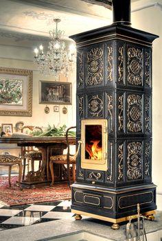 Stufa a legna la Castellamonte Vienna 2° Misura nero - Pramar Casa