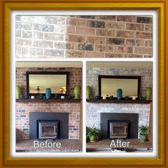 Whitewashed brick fireplace   Home improvement   Pinterest ...