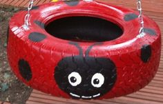 Ladybug Tire Swing - Thanks Auntie Julie!!