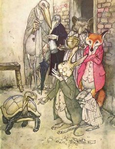 Aesops Fables, The Tortoise and the Hare, Arthur Rackham.
