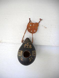 Fairy House Hummingbird Feeder or Birdhouse. Hand-Painted Mini Egg Gourd Fairy Garden decoration with Rusty Lady bug hanger. Sweet Whimsical